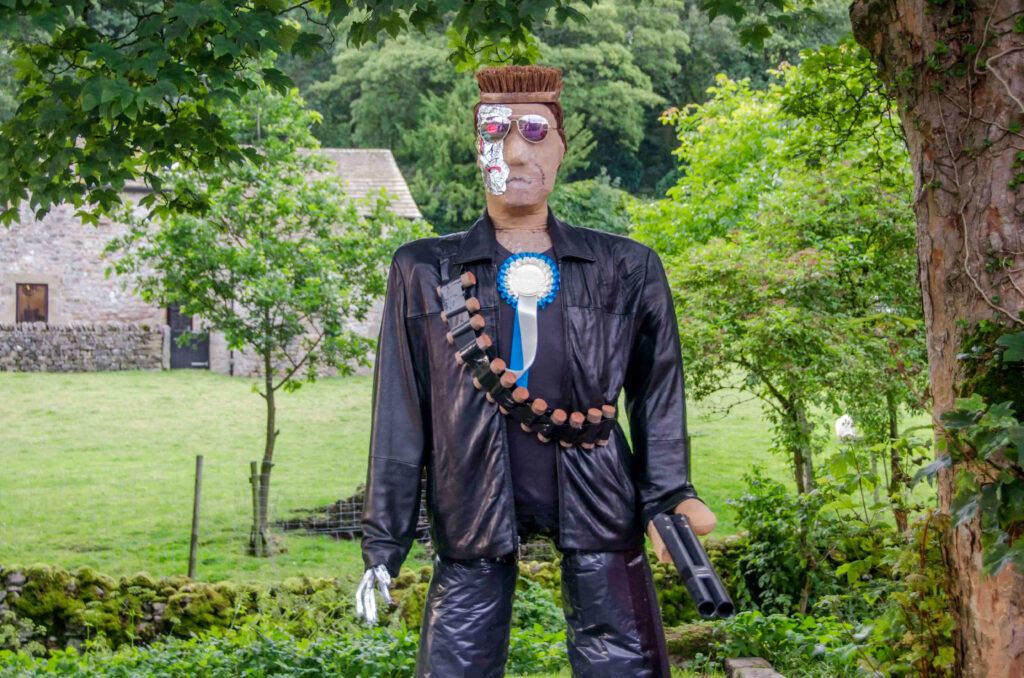 This scarecrow is the Terminator and he'll lead you to the grown-up scarecrow trail