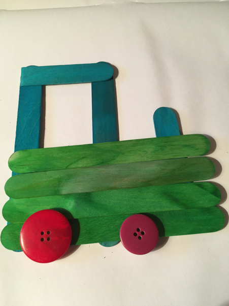 The finished lollipop/craft stick tractor