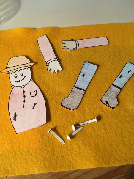 Draw and cut out the body, arms and legs on some card