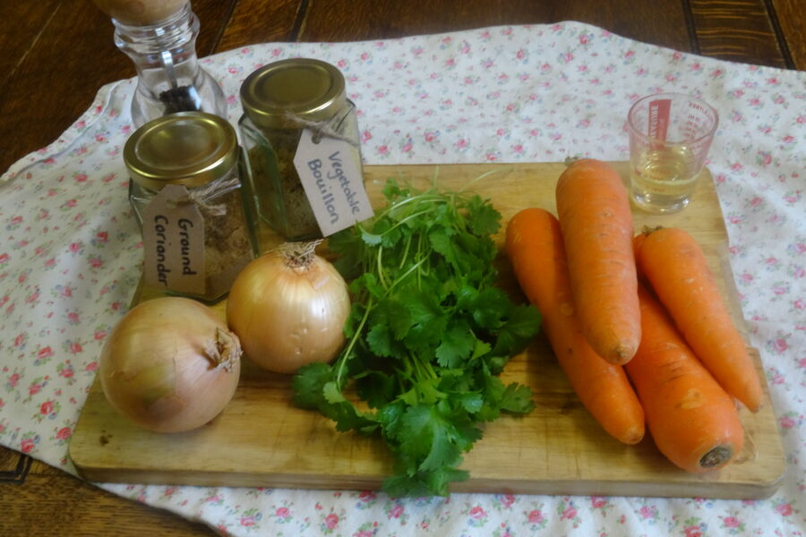 All the ingredients you need for perfect carrot and coriander soup