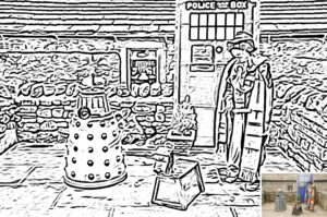 Dr Who and dalek colouring preview