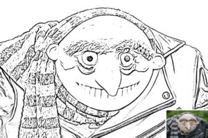 Grue colouring sheet preview