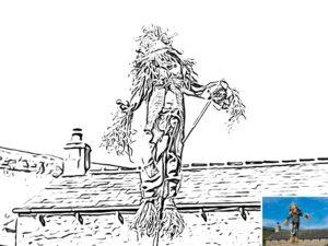 Preview of a scarecrow colouring sheet