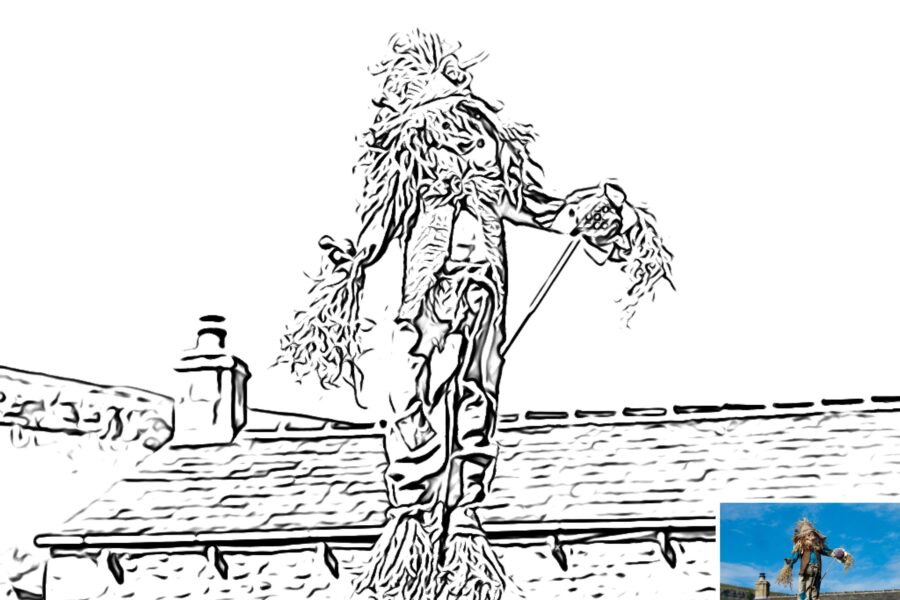Preview of a scarecrow colouring sheet