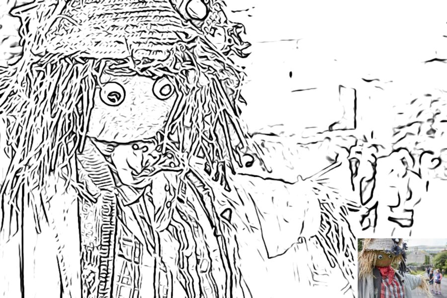 Preview of scarecrow colouring sheet with thumbnail of original picture