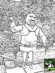 Preview of Shrek colouring sheet