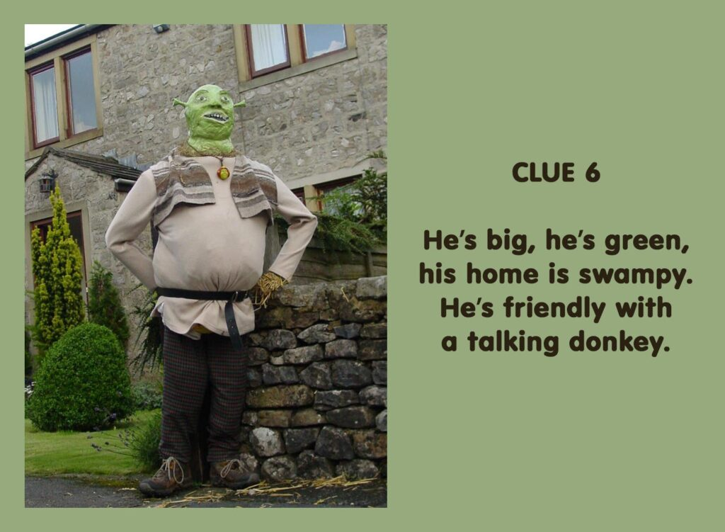 He's big, he's green, his home is swampy. He's friendly with a talking donkey.